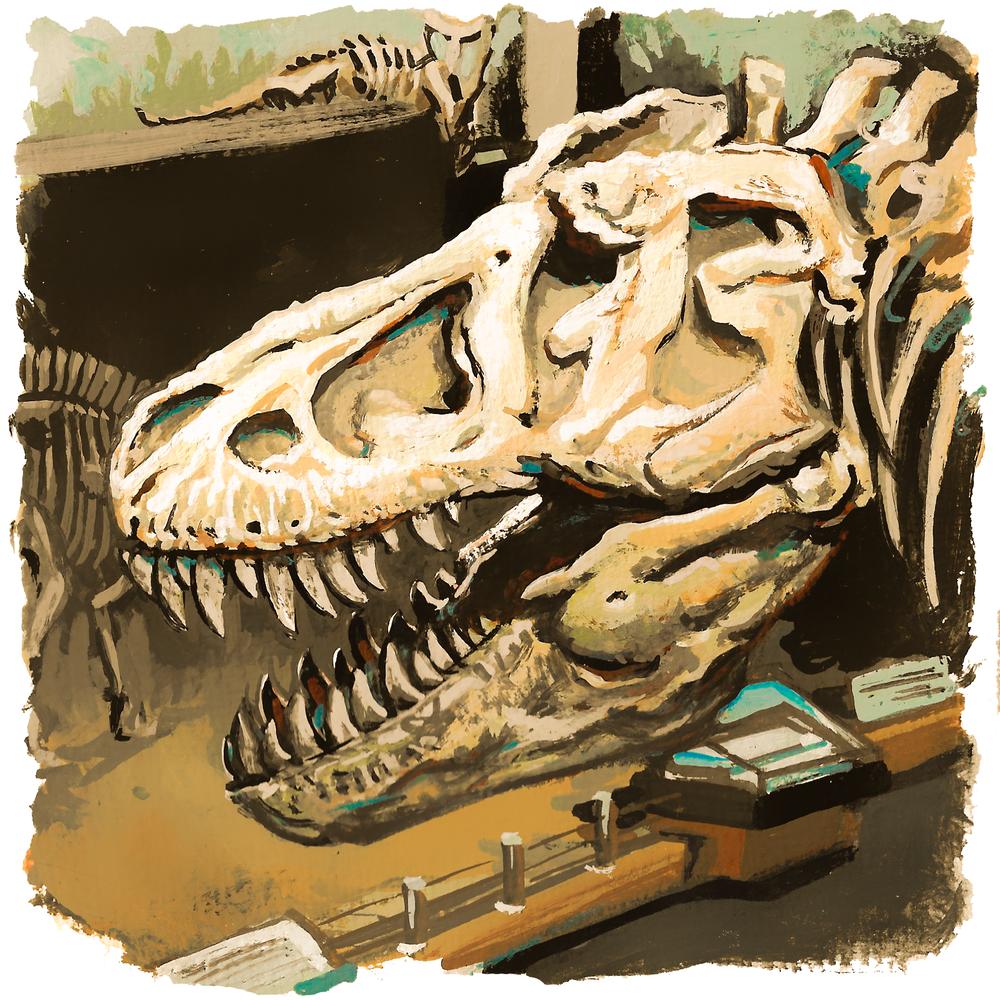 Tyrannosaurus, casein on paper, 2016