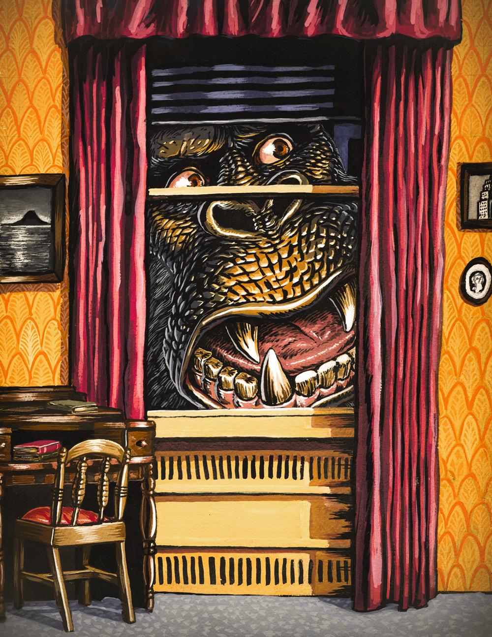 Peeping Kong , gouache on paper, 2015
