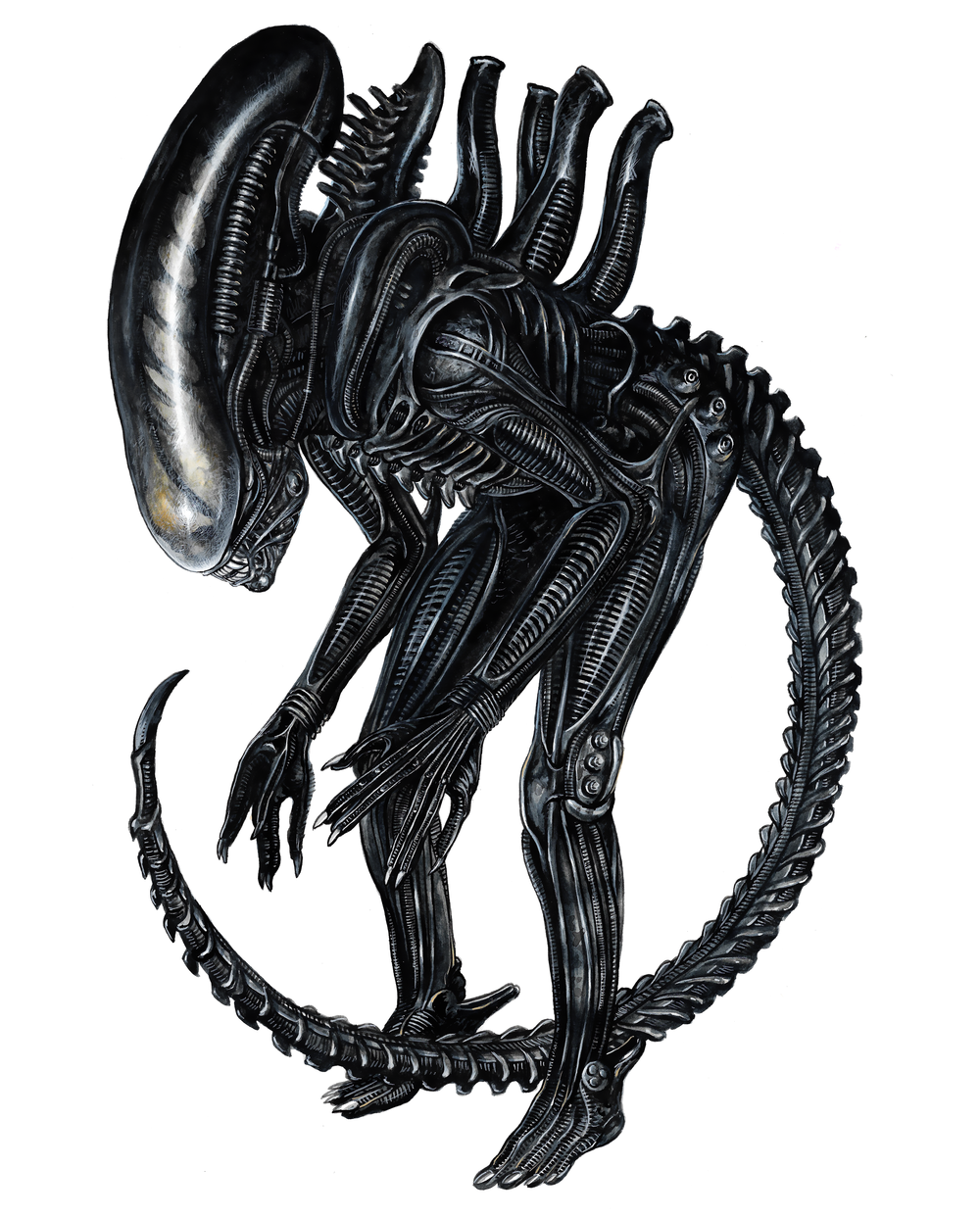 Giger's Alien , watercolour on paper, 2017 (private commission)