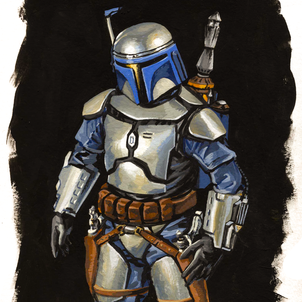 Jango Fett, casein on paper, 2017