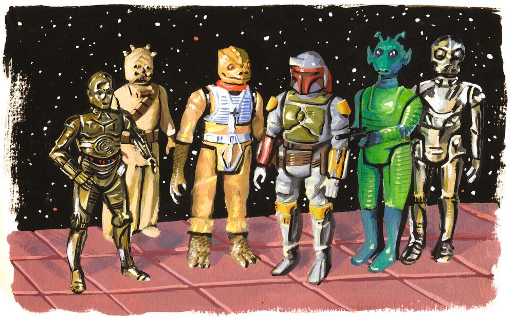 Kenner Star Wars Idols , gouache on paper, 2016