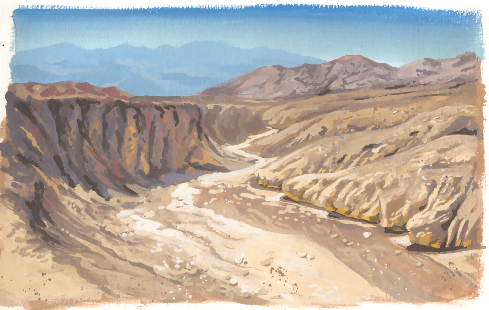 Death Valley National Park, gouache on paper, 2016