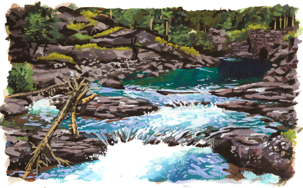 Glacier National Park Waterfall , gouache on paper, 2017