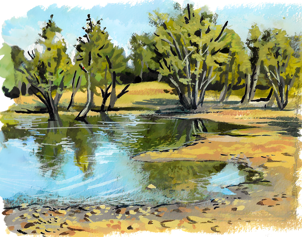 Nose Hill Pond , gouache on paper, 2017