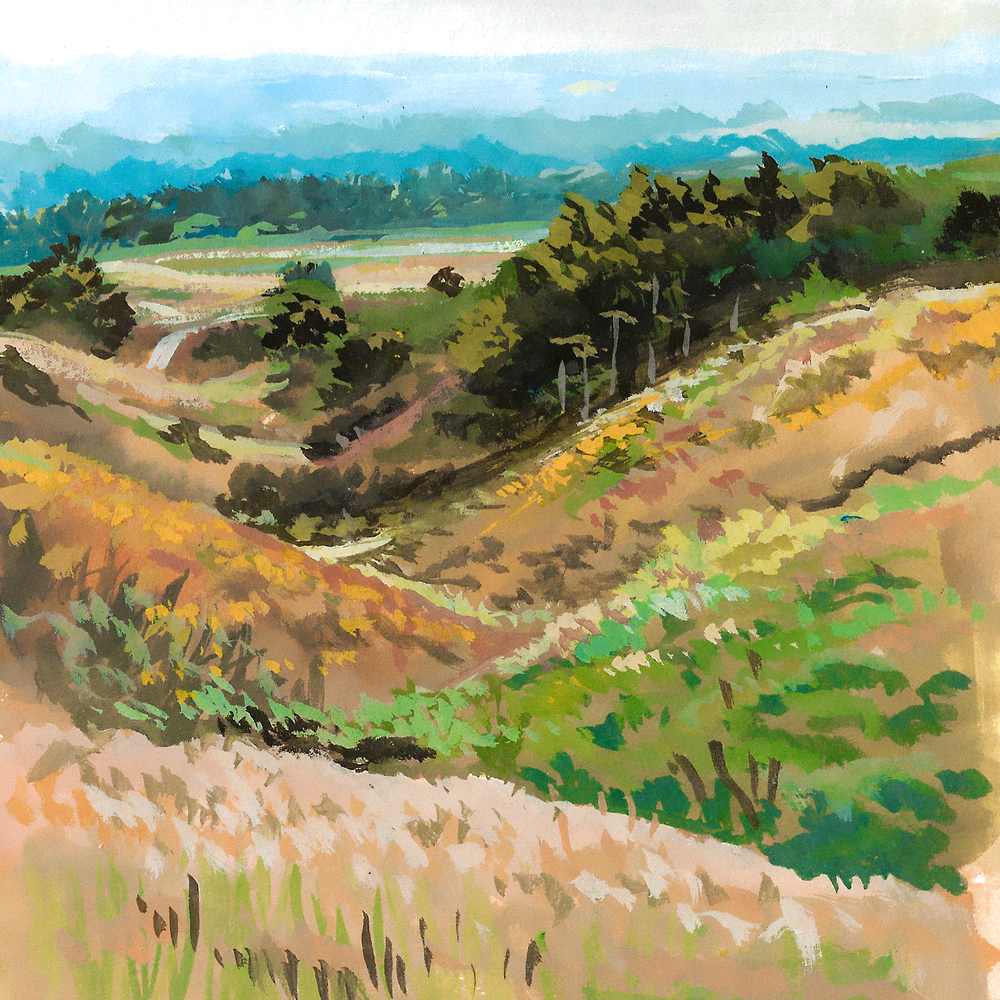 Nose Hill , gouache on paper, 2017
