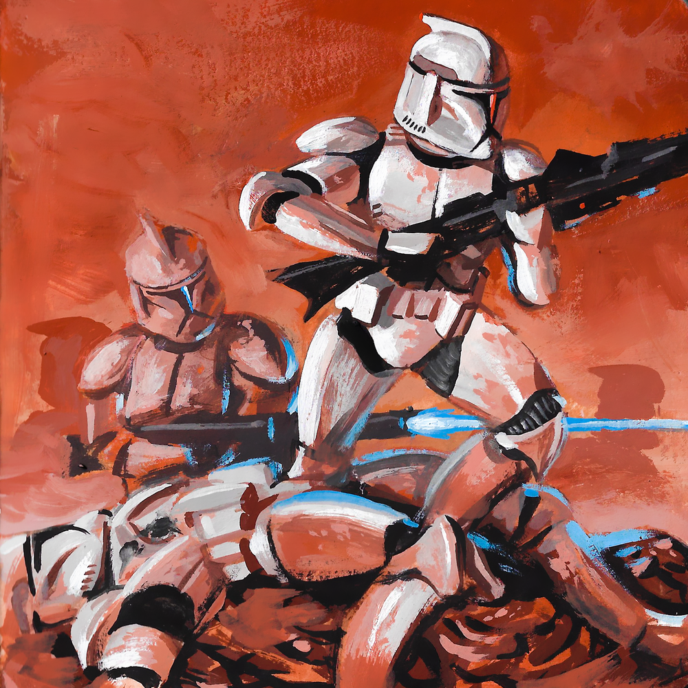 Clone Troopers , casein on paper, 2017