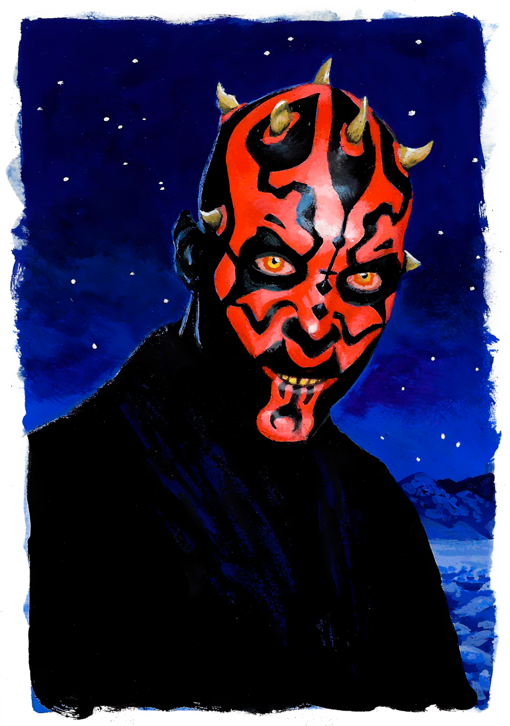 Darth Maul, casein on paper, 2017 (private commission)