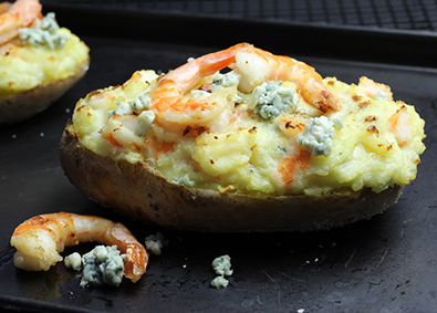 Twice Baked Potatoes Stuffed with Shrimps and Blue Cheese