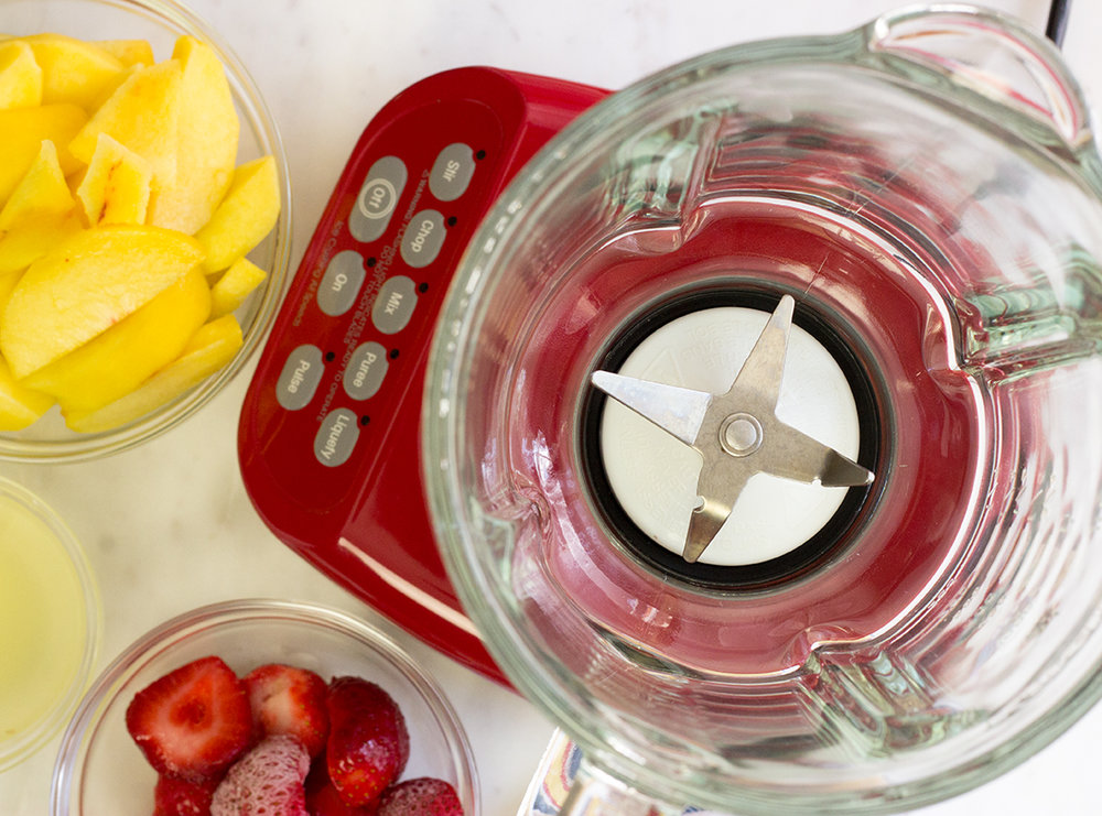 Blender and ingredients for three-fruit extra thick smoothie
