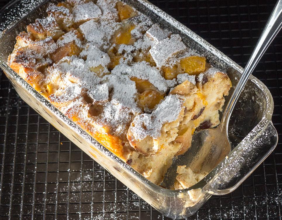 Peach Raisin Bread Pudding in Dish Top View