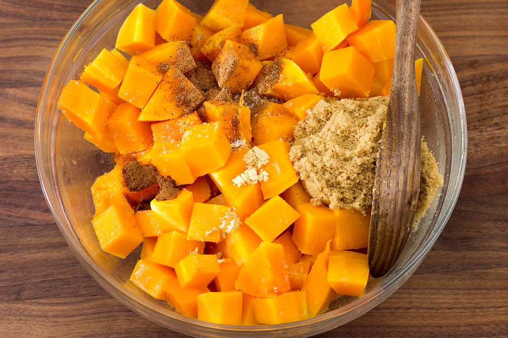 Butternut Squash With Three Spices and Brown Sugar