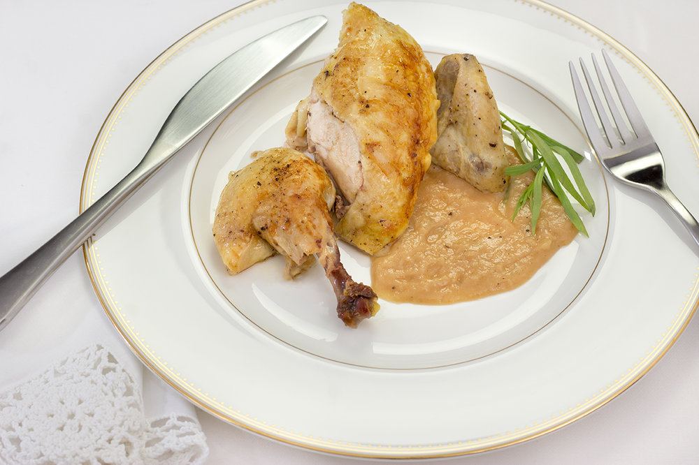 Pieces of Rock Cornish Hen and Gravy