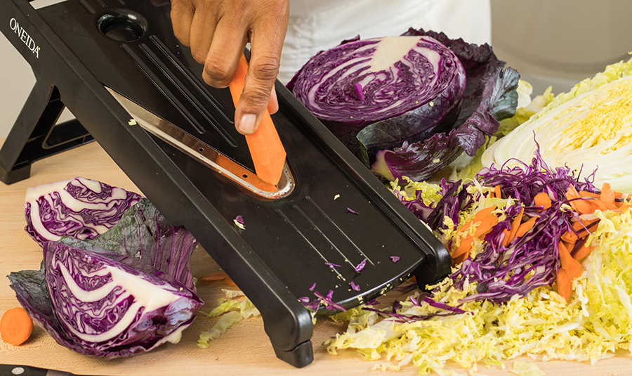 Using a mandoline, a food processor or sharp knife, shred all vegetables.