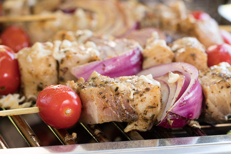 swordfish kabob on a grill