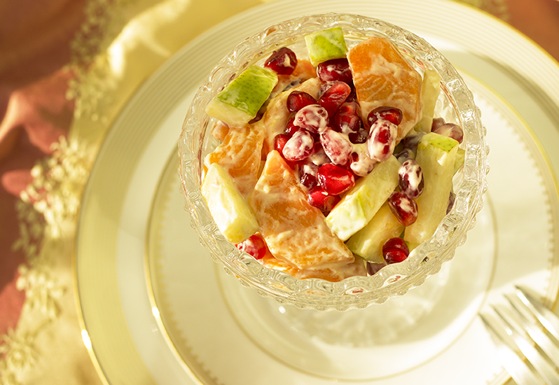 Seasonal Fruit (Pomegranate) Salad With Creamy Honey and Ginger Dressing