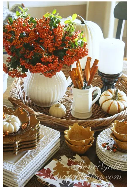 Fall Centerpiece for Sideboard/Table   source