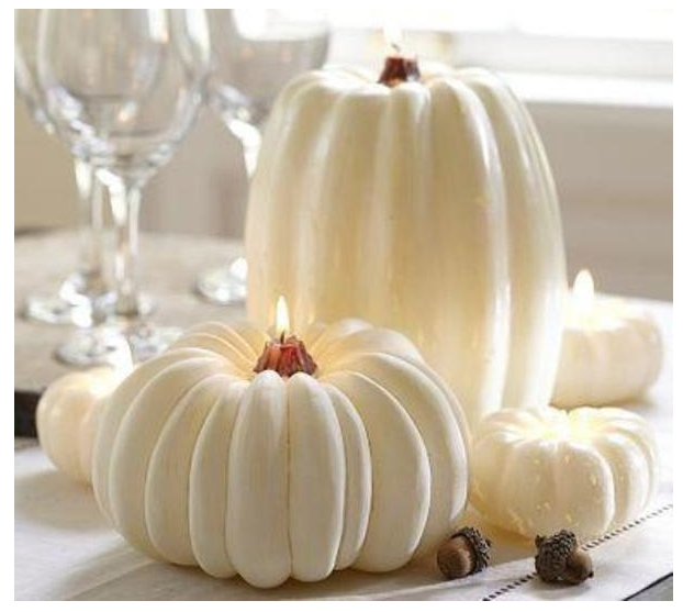 White Pumpkin Candle Centerpieces   source