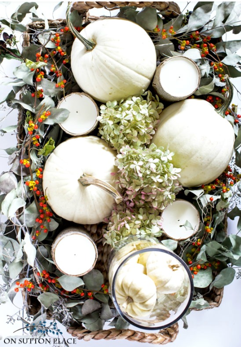 White pumpkin fall centerpiece   source   Great step-by-step instructions on how to make this.