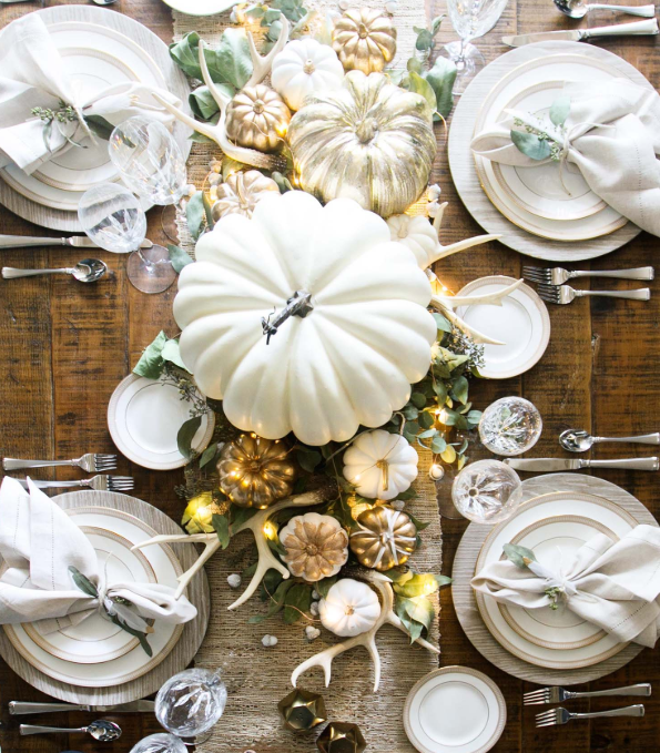 White and gold pumpkin fall centerpiece   source