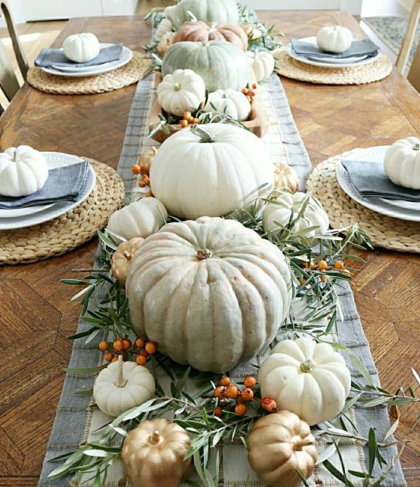 White bluish gold pumpkin fall centerpiece   source