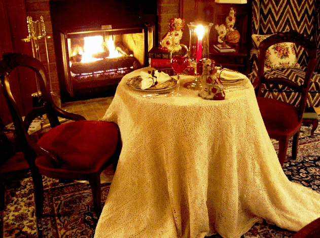 Romantic fireside dining for two from BTNOP s  ource