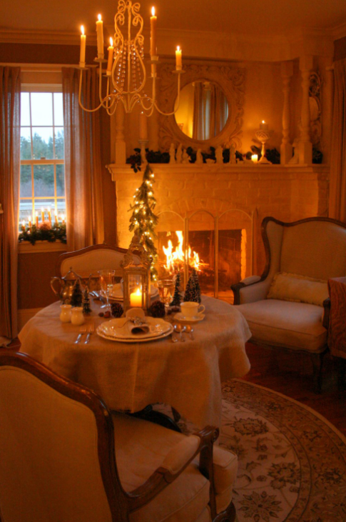 Romantic fireside dining for two   image source