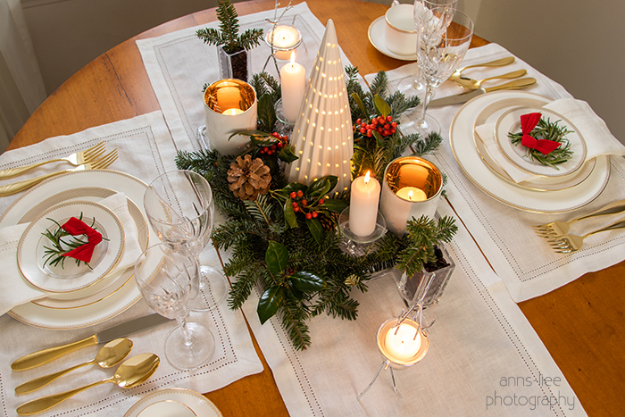 Christmas tablescape for Two in gold, white and green