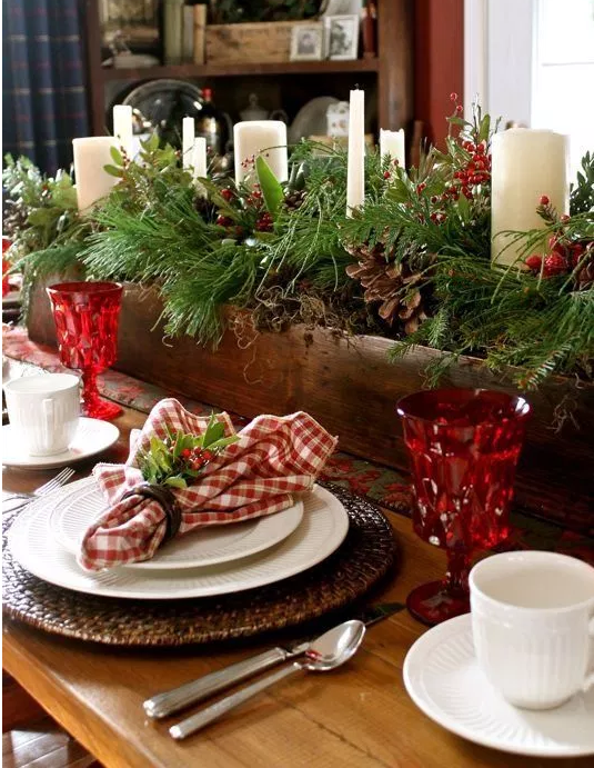 Rustic Christmas tablescape   source