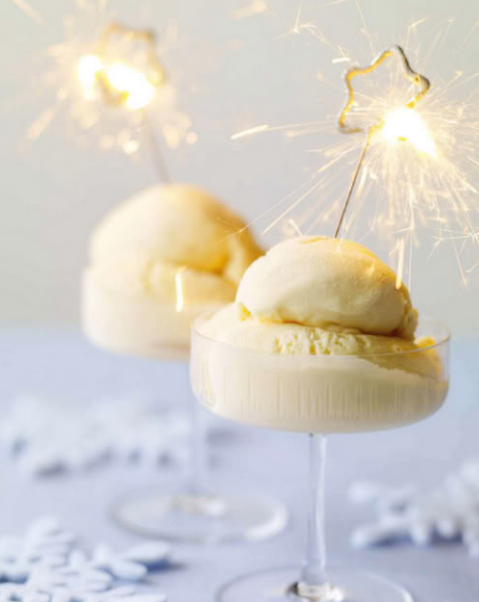 Ice cream scoops with New Year's sparklers   source