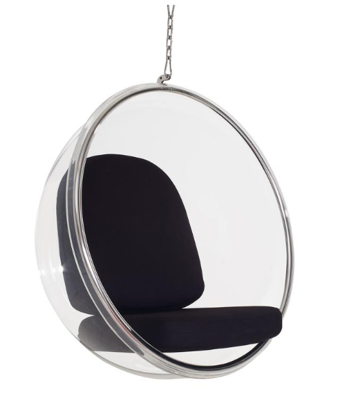 Transparent swing bucket chair on   minimal and modern
