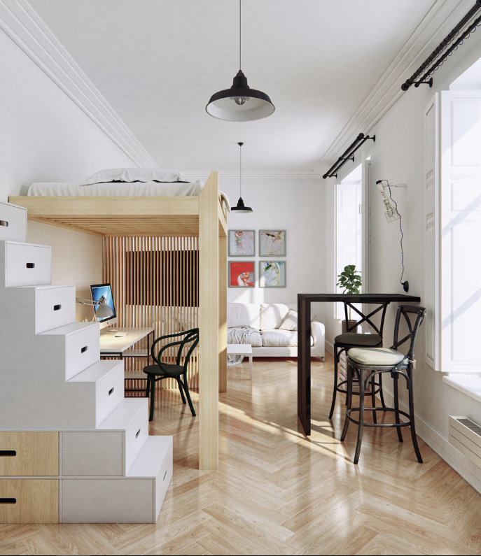 Elevated bed provides office space in studio apt   source