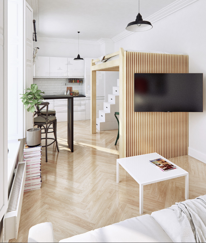 Studio apartment with elevated bed   source