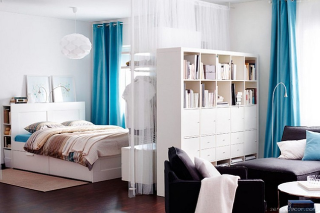 Bookcase divider in studio apartment   source