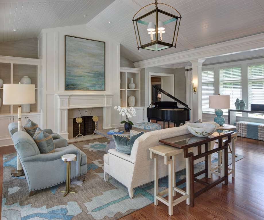 Blue and White living room by W Design Interiors on   Houzz