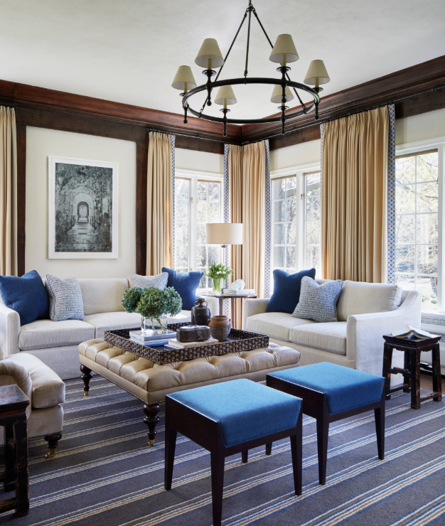 Blue as accent color in living room by Gemma Parker Design LLC on   Houzz