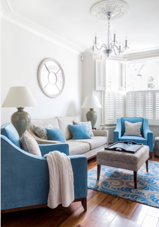 Blue and white living room by Town House Interiors on   Houzz