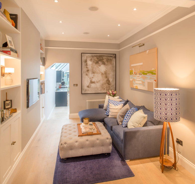 Blue and gray living room by Notting Hill House on   Houzz