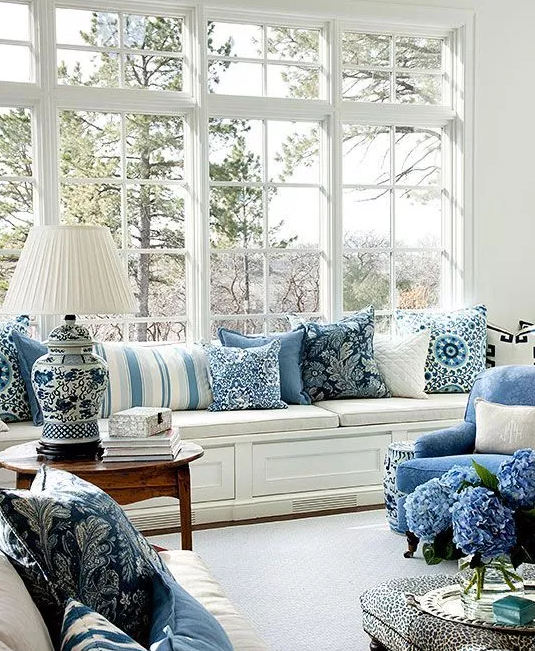 Blue and white room with blue as accent color from   The Blue and White Home