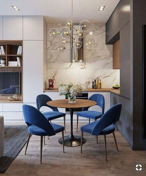 Blue as accent color in dining room by Delightful.au   source