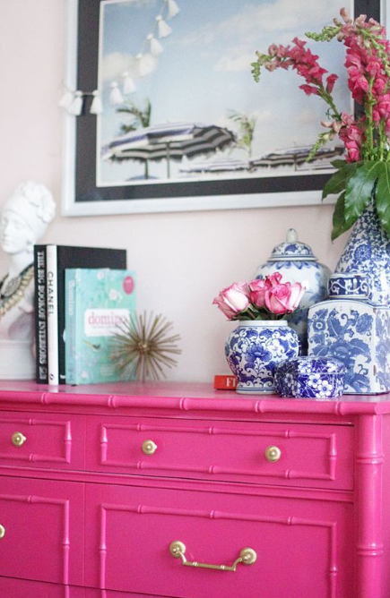 Blue accent colors with hot pink from   This Is Glamorous