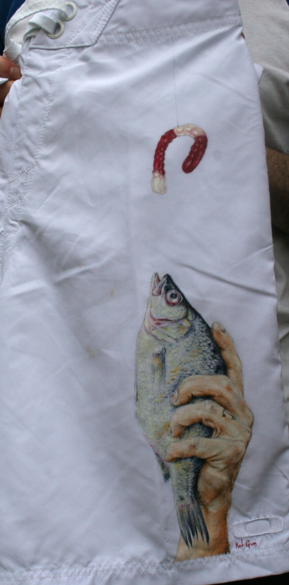 Custom painted board shorts for YRB Magazine