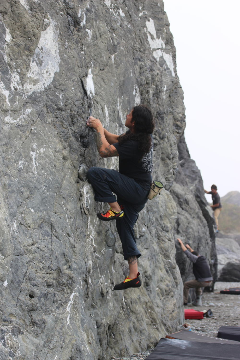 Applying some of that new finger strength out at Lost Rocks