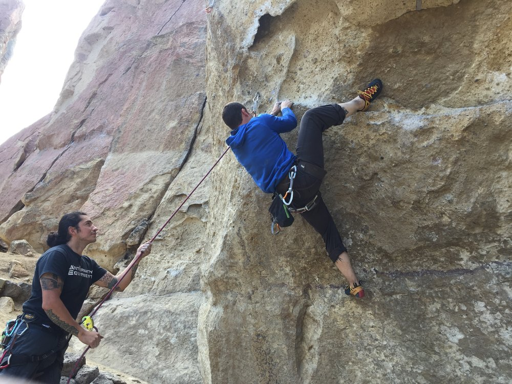 Juan and Cameron climbing at Smith Rock.