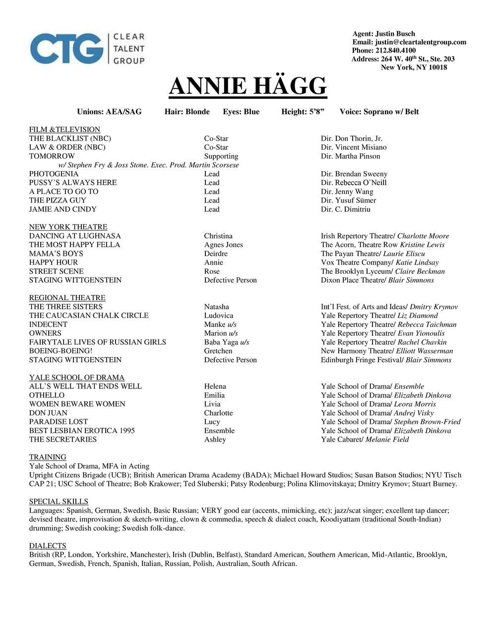 Resumé — Annie Hägg