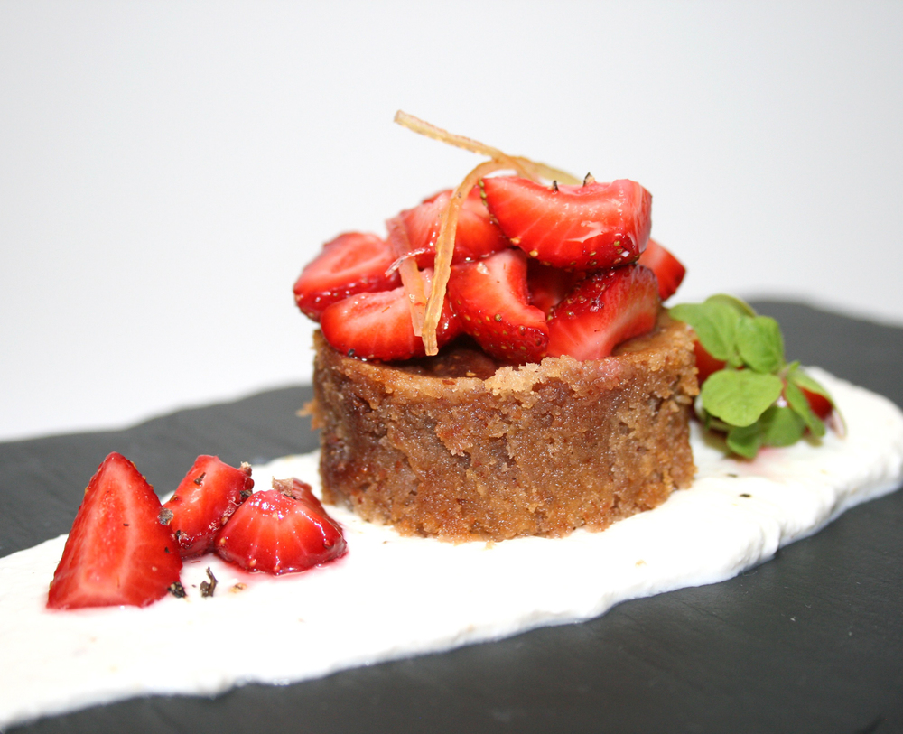 Strawberry-Almond Frangipane Cake w/ Local Strawberries, Ricotta & Candied Lemon