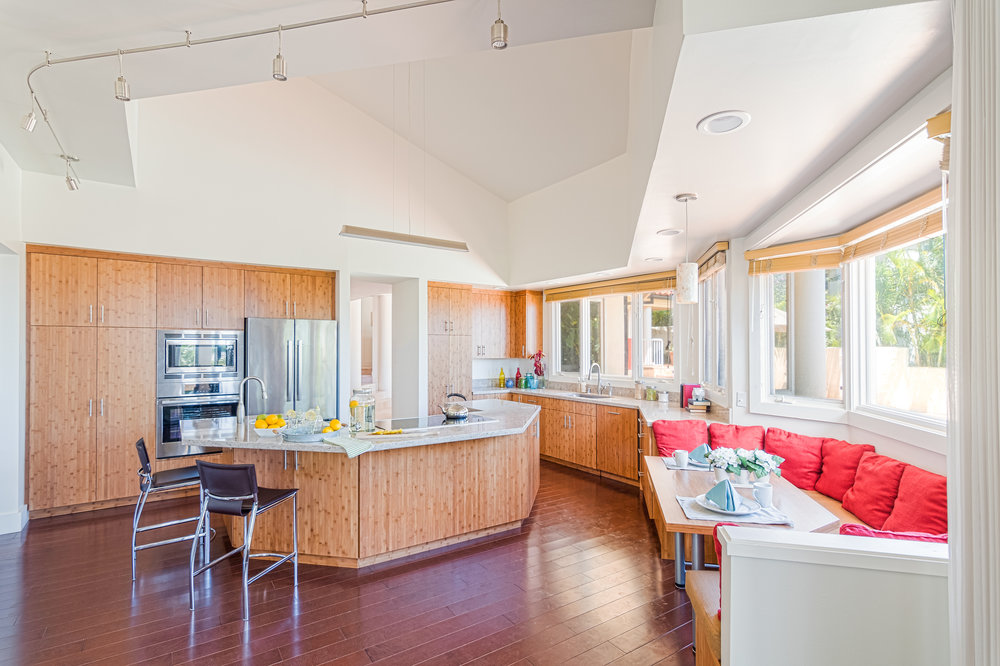 BAMBOO KITCHEN, ISLAND AND BENCH SEATING