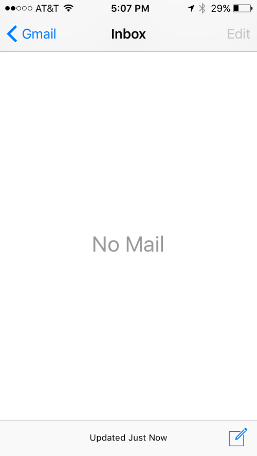 Inbox: Zero. Nada. Empty. As in seriously no mail. Yes, really.