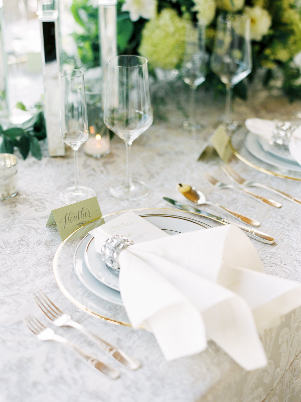 Fine art green and white wedding inspiration by Columbus, Ohio wedding planner Meggie Francisco. Photo by Heather Moore.