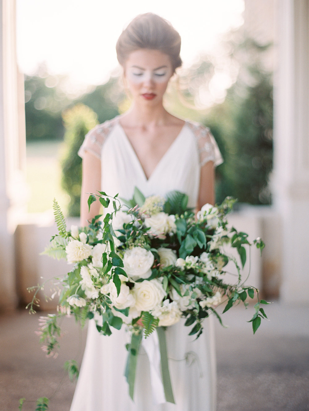 Fine art green and white wedding inspiration by Columbus, Ohio wedding planner Meggie Francisco. Photo by Charla Storey.