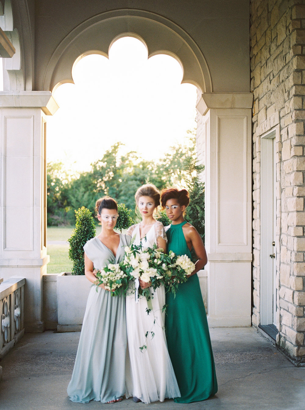 Green and white castle wedding inspiration by Columbus, Ohio wedding planner Meggie Francisco. Photo by Tracy Enoch.